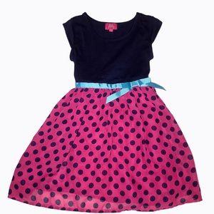 Pinky Toddler Girls Navy & Pink Dress Size 5T